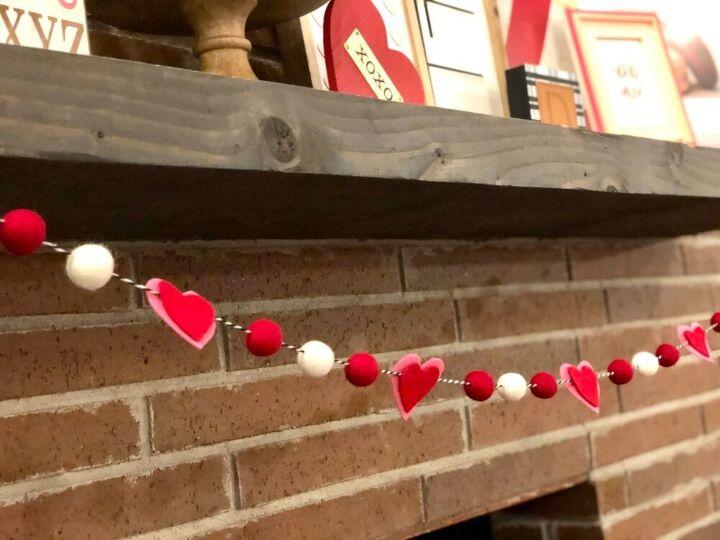 felt heart valentines garland