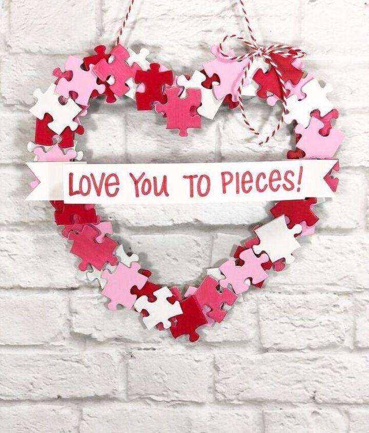 Puzzle Piece Heart Wreath - a Dollar Tree DIY