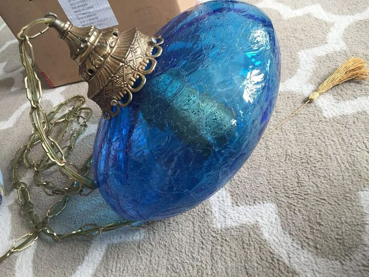 upcycling a beautiful antique blue glass pendant lamp