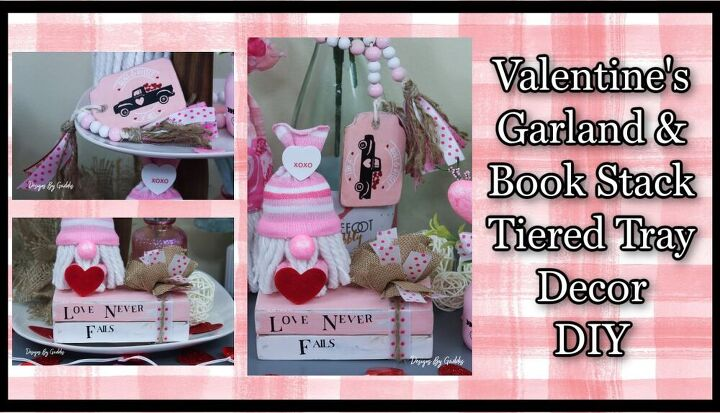 valentines day garland and wood stacked books tiered tray decor diy