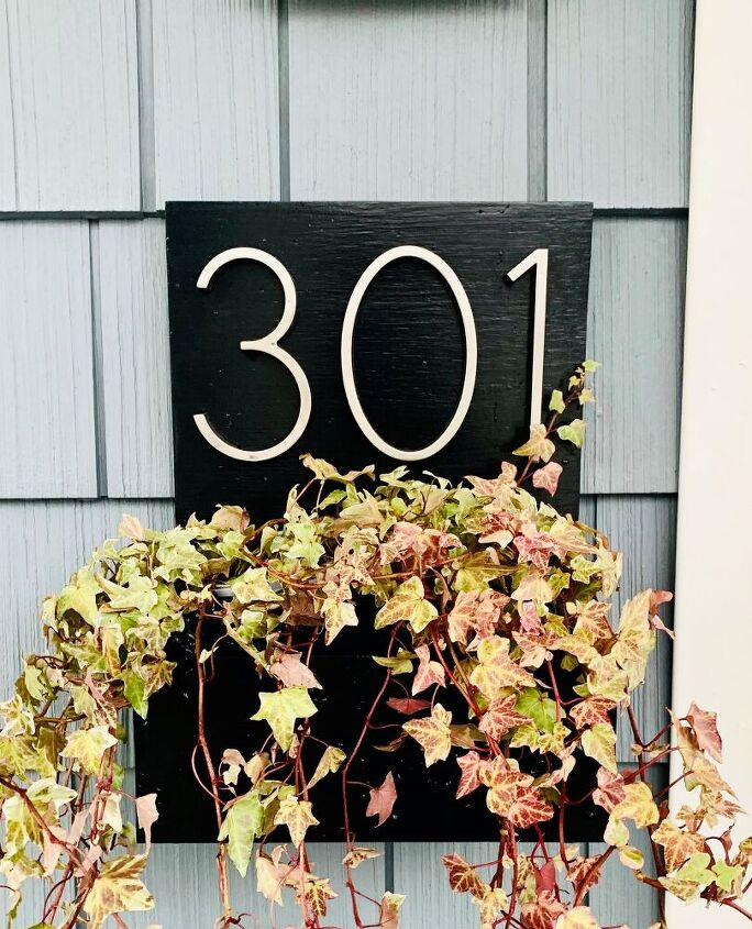 diy modern house number sign with planter box