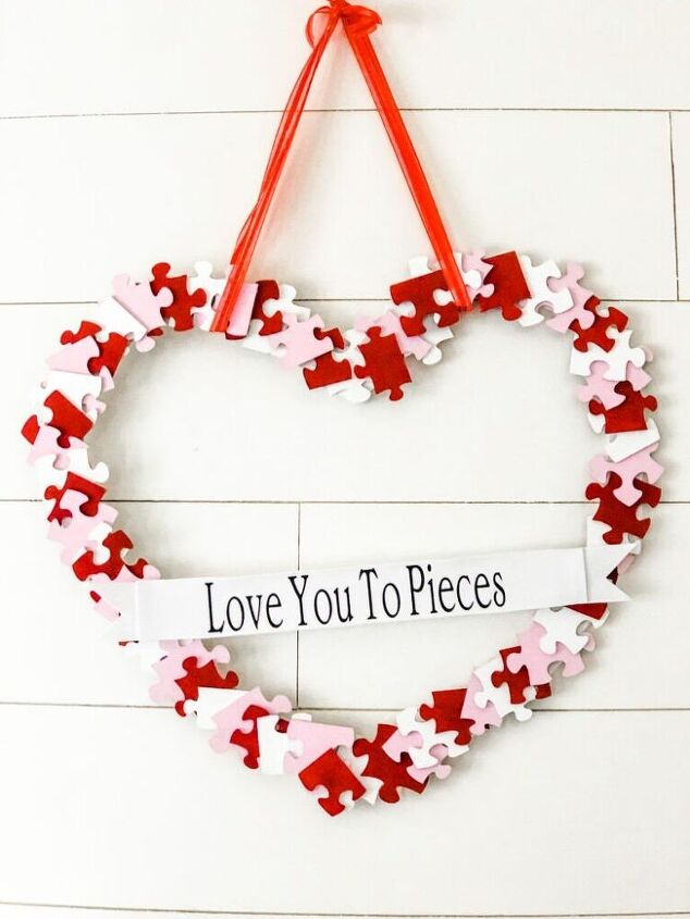 create puzzle piece valentine heart wreath