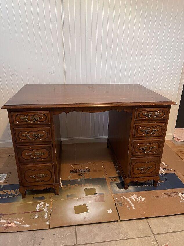 pink desk furniture makeover