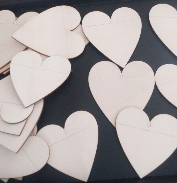 wood heart garland
