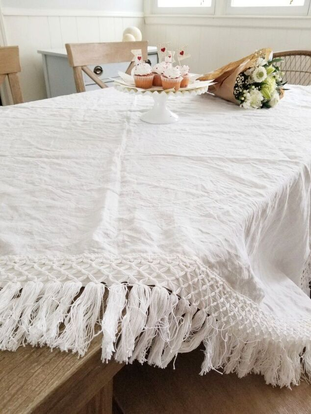 thrift store table cloth gets a boho upcycle