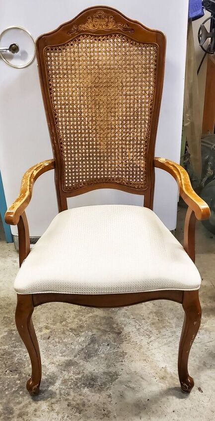 antique chair gets a makeover with chalk paint and fabric