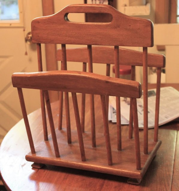 from garage sale magazine rack to rolling pin kitchen display