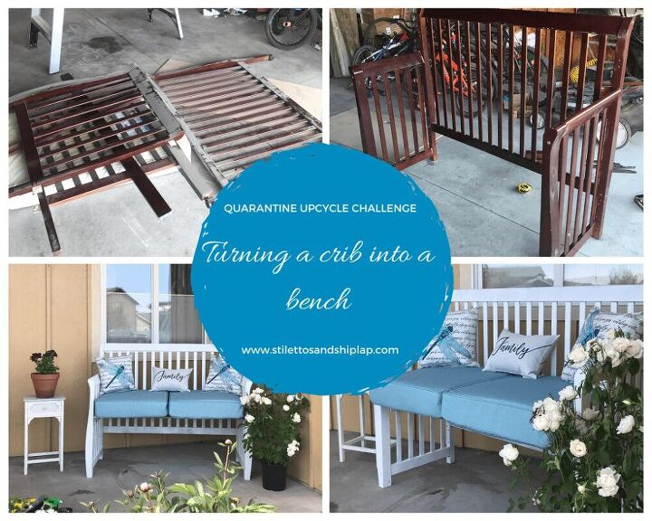 quarantine upcycle challenge crib to patio bench