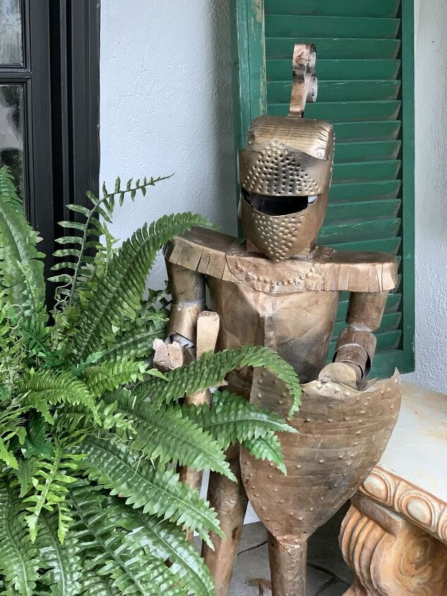 how to antique metal decor, This is what my knight in shining armor looks like now