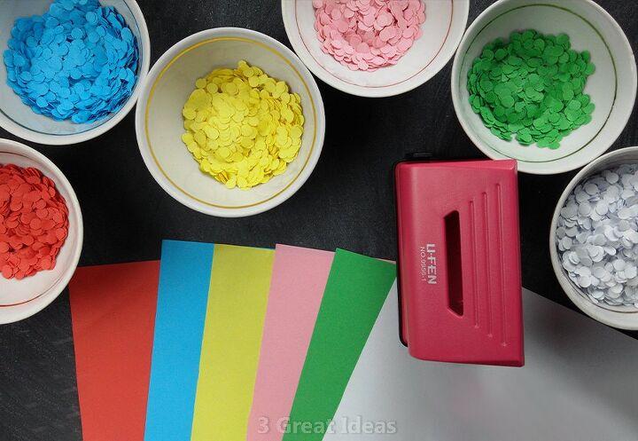 colorful confetti room decor