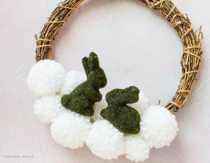 diy 3 dollar tree moss bunny spring wreath