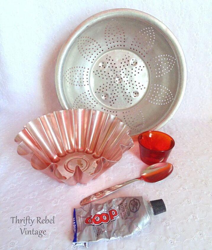 repurposed strainer and jello mold flower
