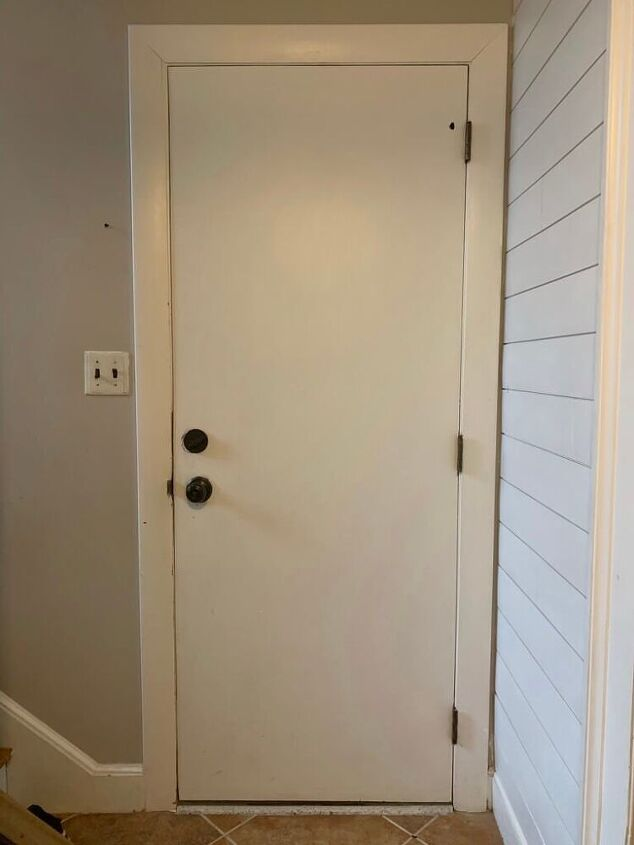 quick and easy interior slab door makeover with trim