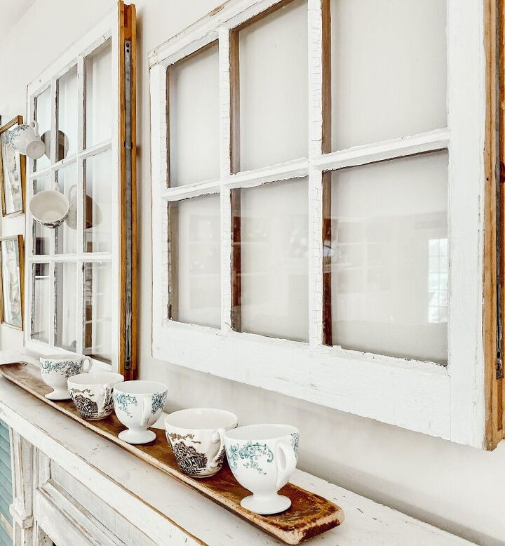 a very simple vintage plates and windows diy