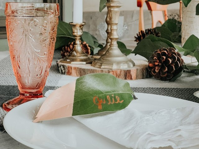 diy paint dipped magnolia leaf place cards