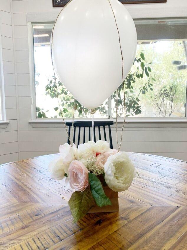 spring centerpiece hot air balloon