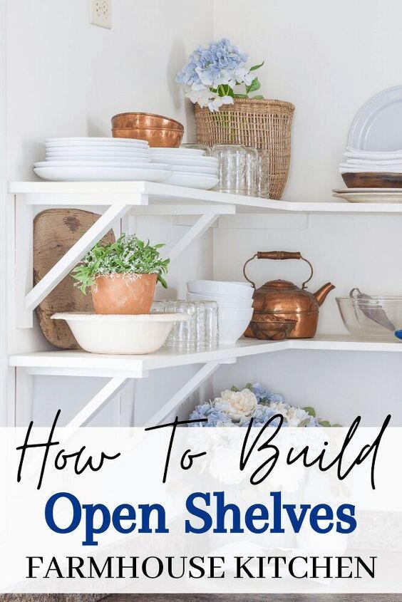 simple farmhouse kitchen open shelves how to diy brackets