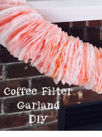 pink puffy coffee filter garland