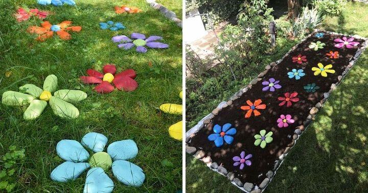 how to diy painted rock flowers garden