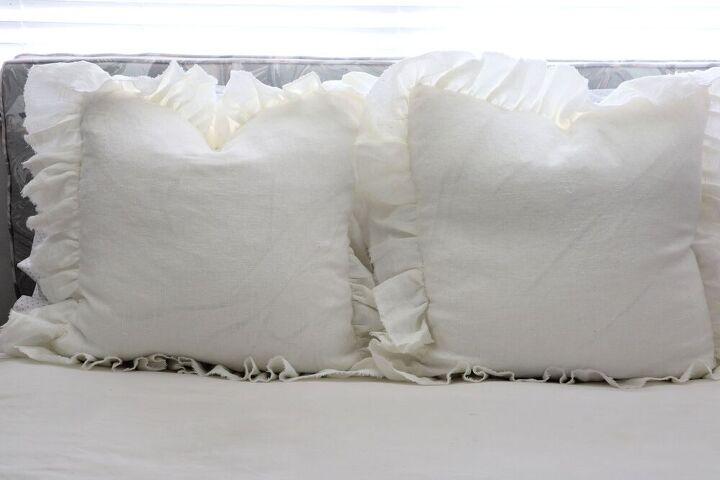 diy ruffled pillow farmhouse style