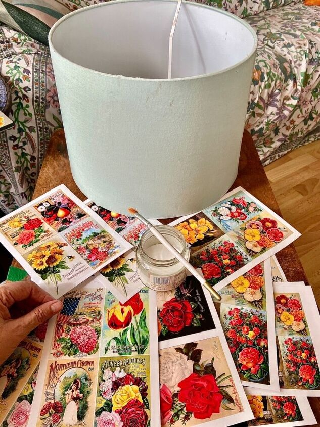 how to transform your lampshades with a vintage floral makeover, Old lampshade and floral pics