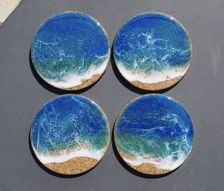 sand and resin ocean coasters