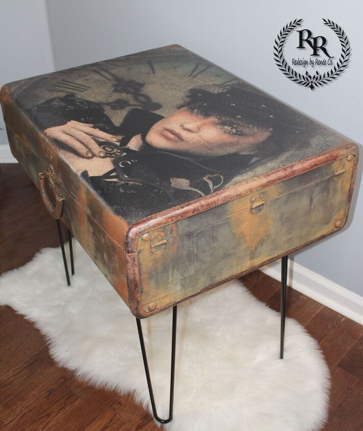 steampunk decoupage on vintage luggage redesigned sidetable