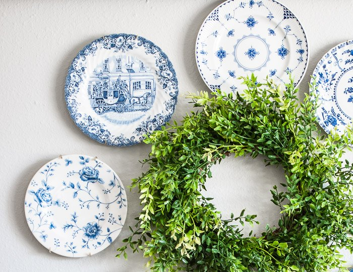 vintage plate wreath for the wall