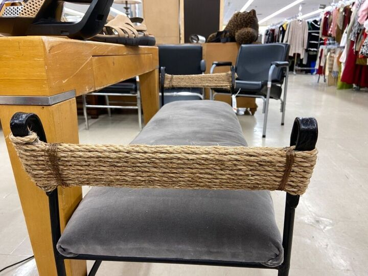 project bench becomes a one of a kind hallway bench, Thrift store fixer upper bench