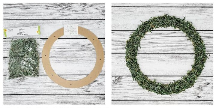 how to make a moss floral wreath, Add Your Moss