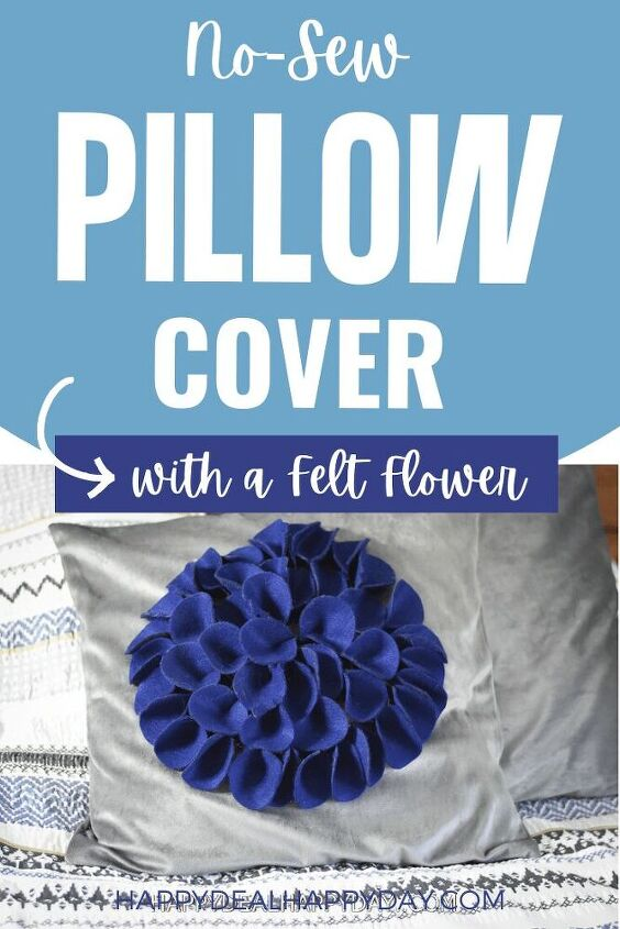 no sew pillow covers with a felt flower