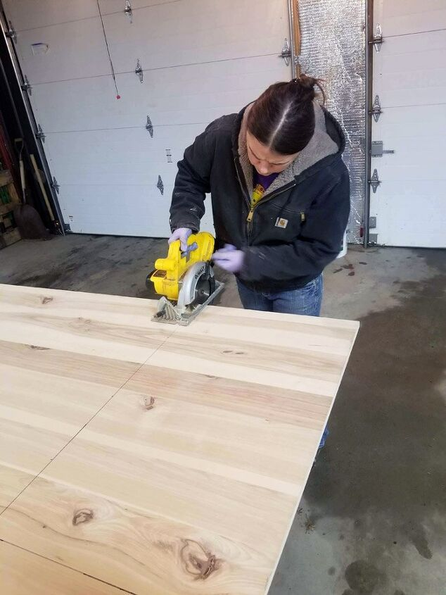 floating hickory workbench and shelves