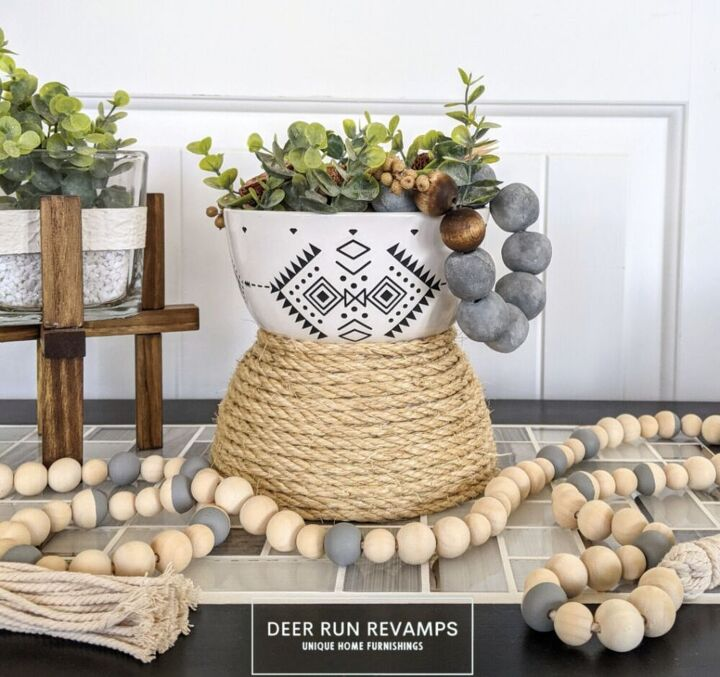 boho style planter vase or candle using bowls rope a transfer