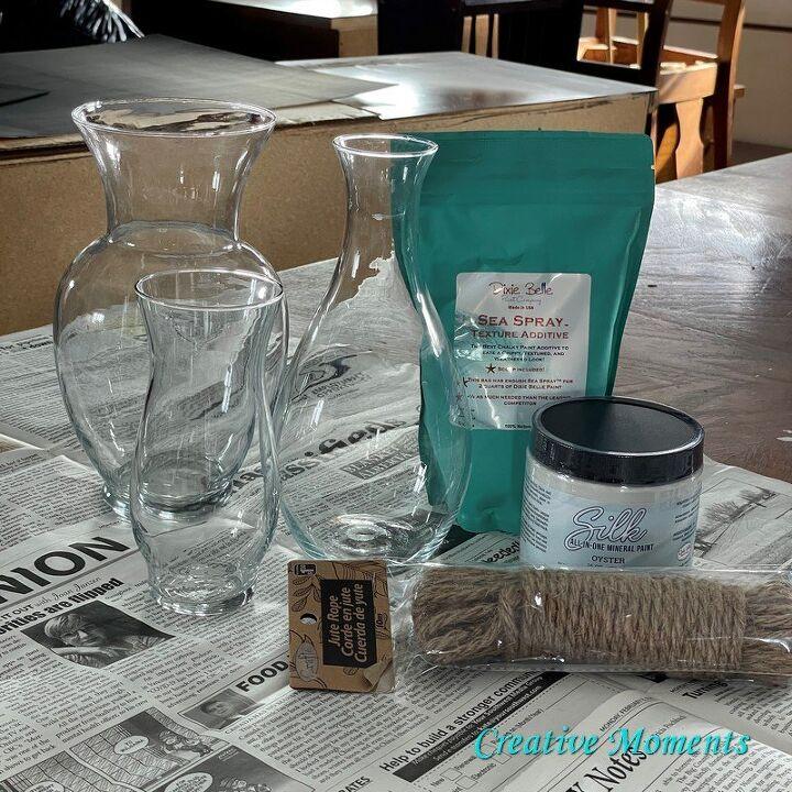 farmhouse textured diy vases