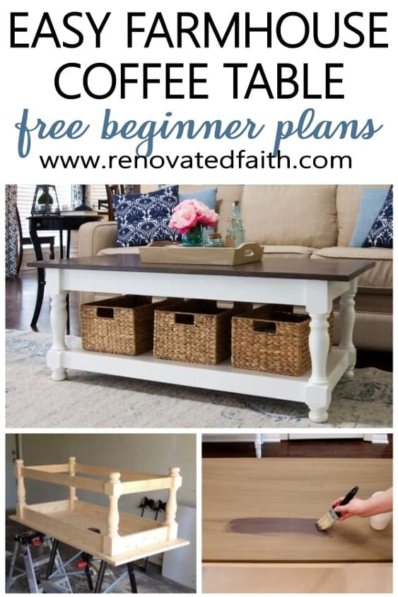diy farmhouse coffee table with turned legs storage free plans