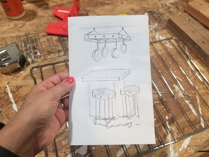 rustic hanging pot rack