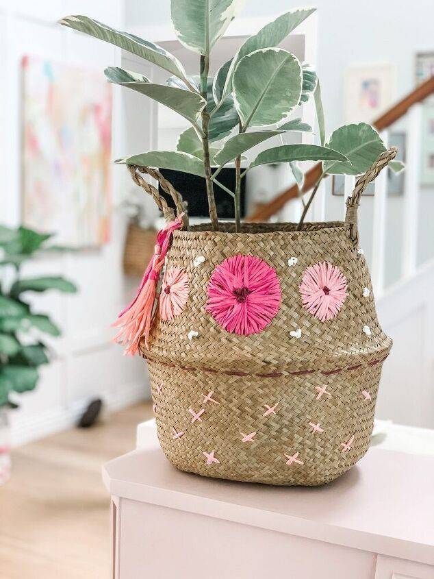 how to embroider a sea grass basket with raffia
