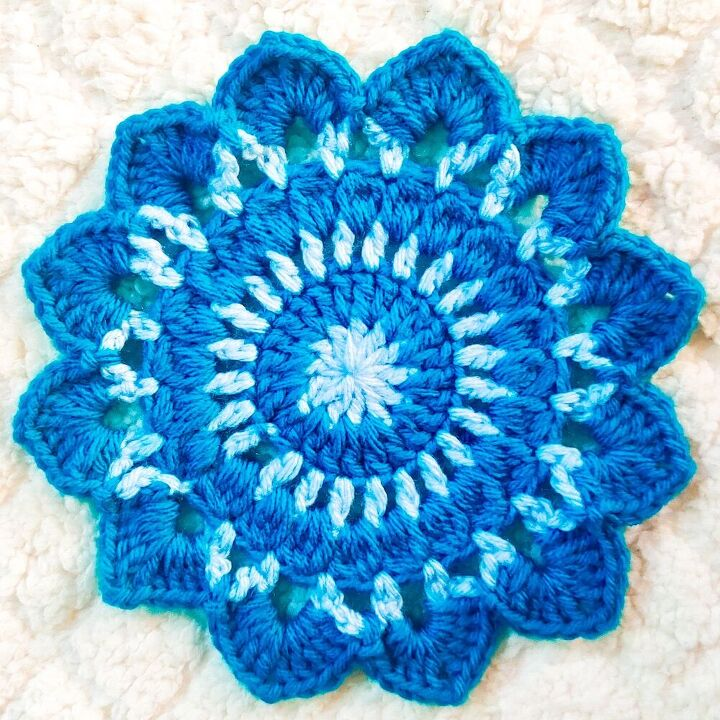 seaside coastal flower crochet coaster