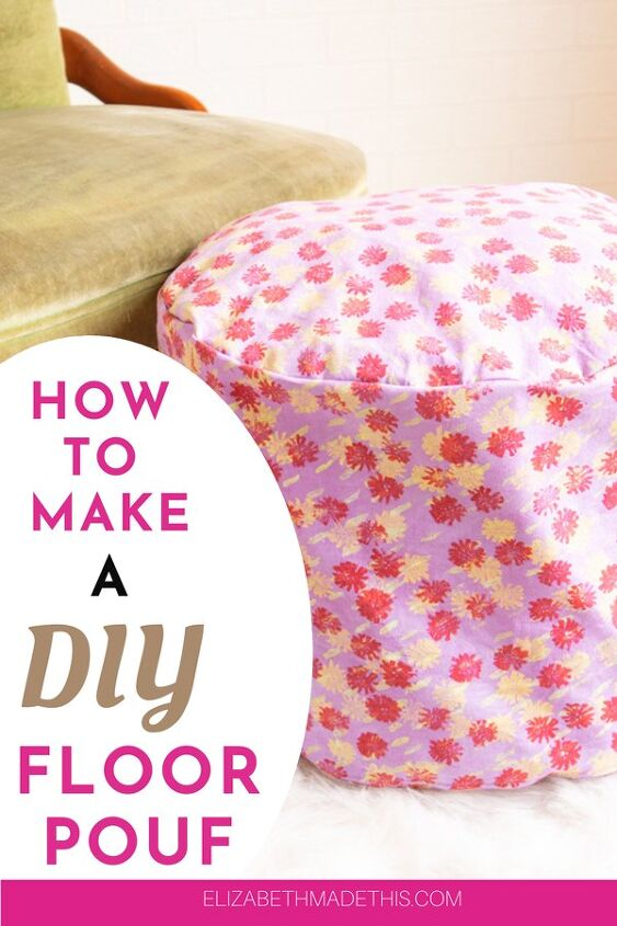 how to make a diy floor pouf fabric scrap buster