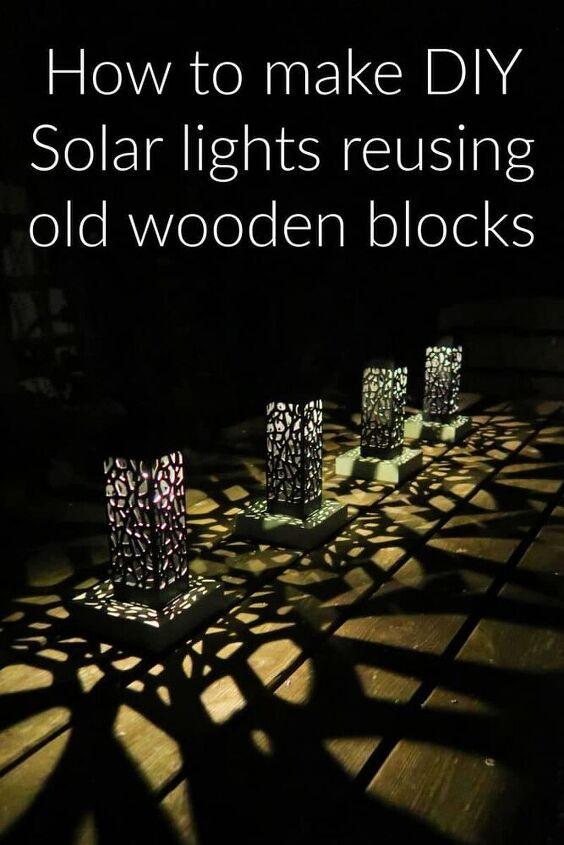 how to make diy solar lights reusing old wooden blocks