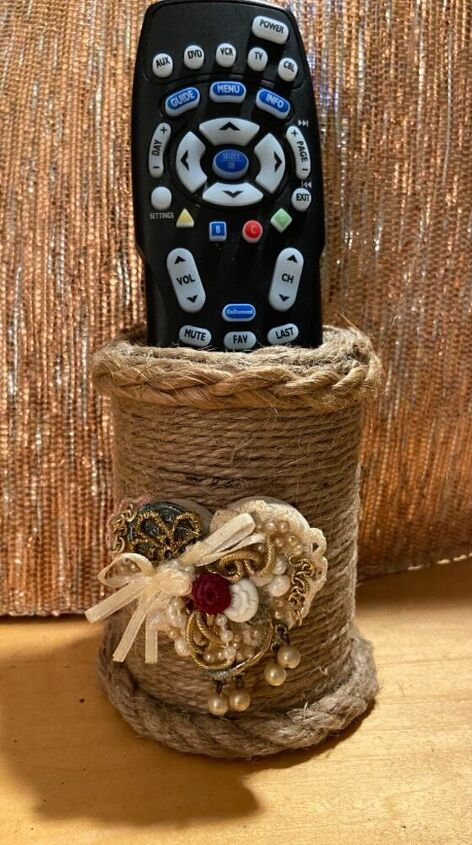 combo project jute container junk art heart collage, Rope container holder
