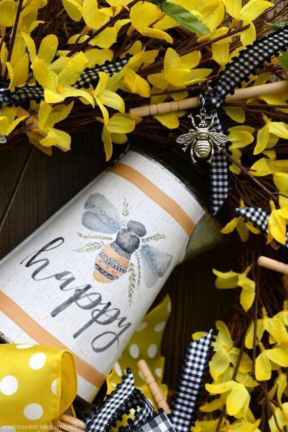 diy bee happy wreath