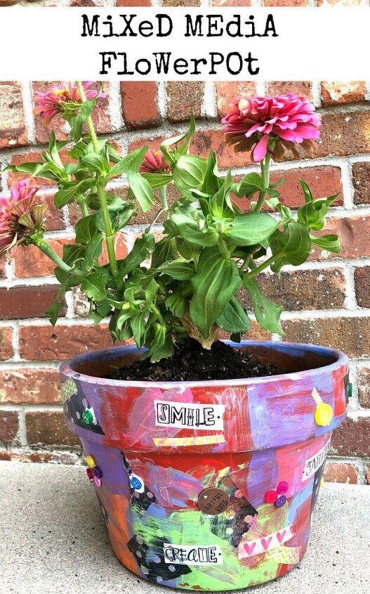 mixed media flowerpot
