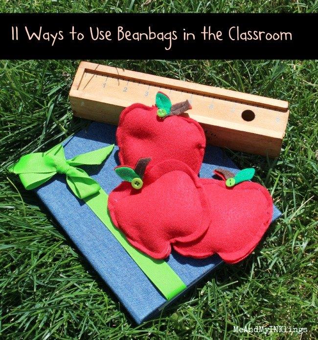 mini apple beanbags in the classroom