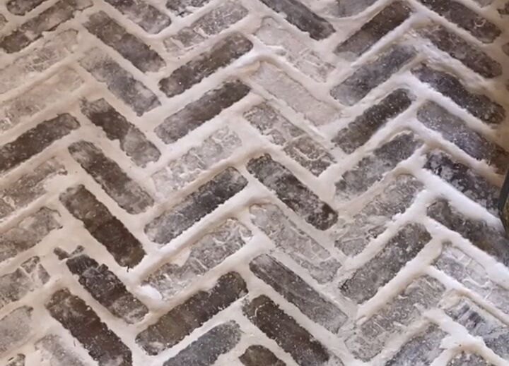 how to stencil a tile floor to look like faux brick, Inspiration photo