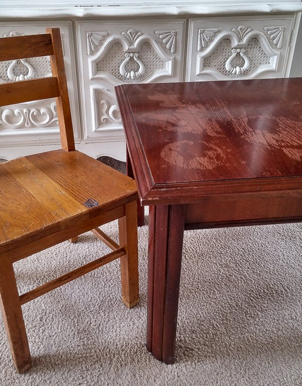activity table set made from mismatched furniture