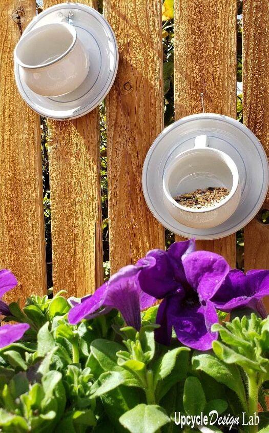simple tea cup bird feeder