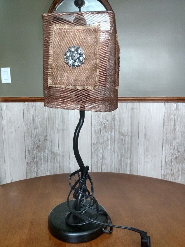 making a lampshade out of an antique sieve strainer