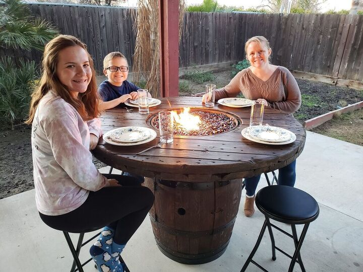 i built a fire table out of a recycled wine barrel and wire spool