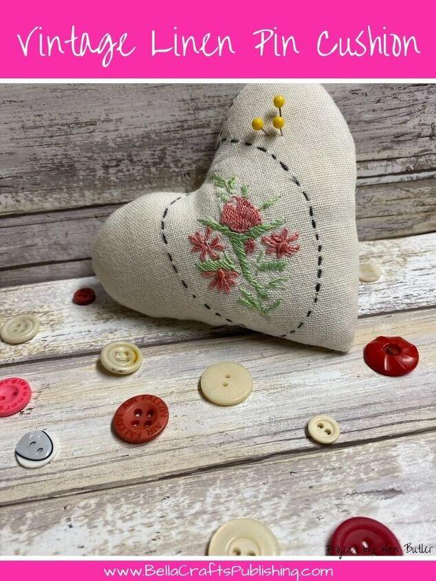 easy vintage linen pin cushion